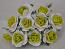 1.5cm LIME GREEN CENTER WHITE Mulberry Paper Roses